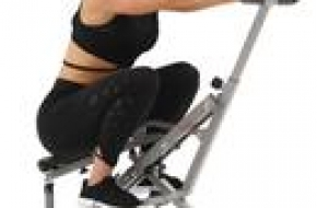 Sunny Health and Fitness Upright Squat Assist Row-N-Ride Trainer Bundle with 7-Piece Fitness Kit, Sports Zippered Waist Bag and Workout Cooling Towel
